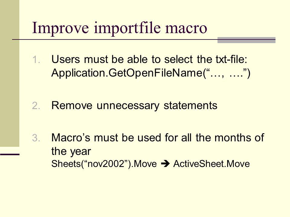 Improve importfile macro 1.
