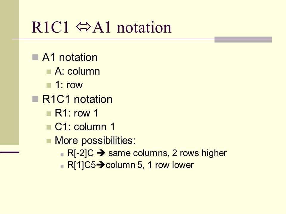 R1C1  A1 notation A1 notation A: column 1: row R1C1 notation R1: row 1 C1: column 1 More possibilities: R[-2]C  same columns, 2 rows higher R[1]C5 