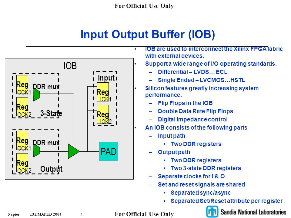 For Official Use Only Napier 131/MAPLD 20045 IOB Details IOB Detailed View (FPGA Editor) Output Registers 3-State Control Registers Input Registers IO standard options (LVDS, etc)