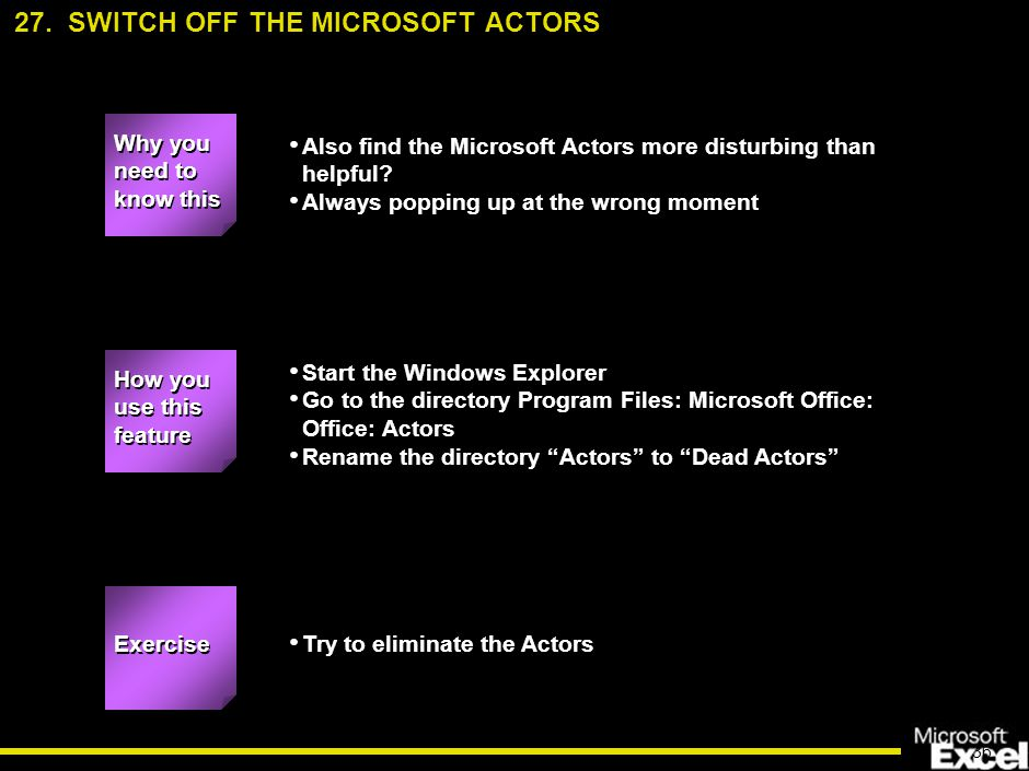 36 Also find the Microsoft Actors more disturbing than helpful.