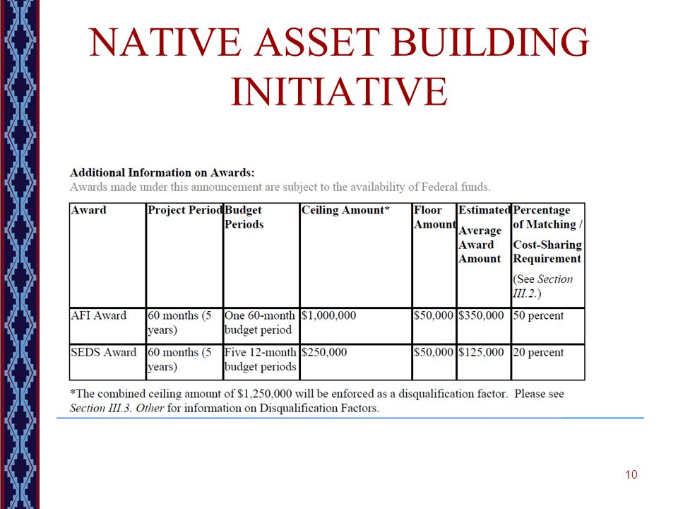 NATIVE ASSET BUILDING INITIATIVE 10