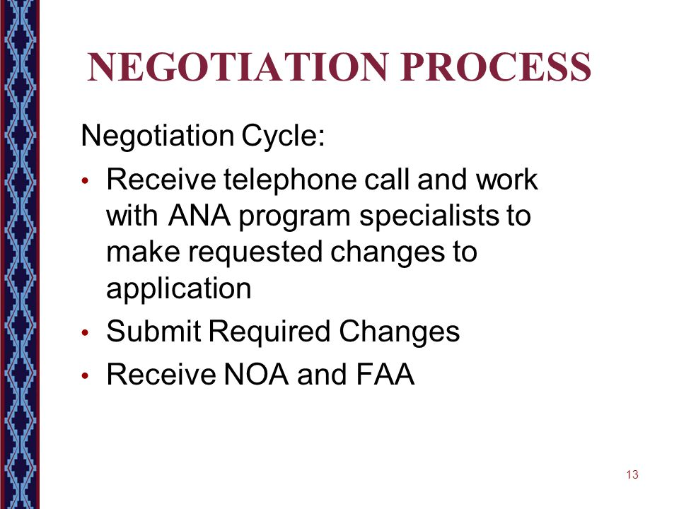 13 NEGOTIATION PROCESS Negotiation Cycle: Receive telephone call and work with ANA program specialists to make requested changes to application Submit