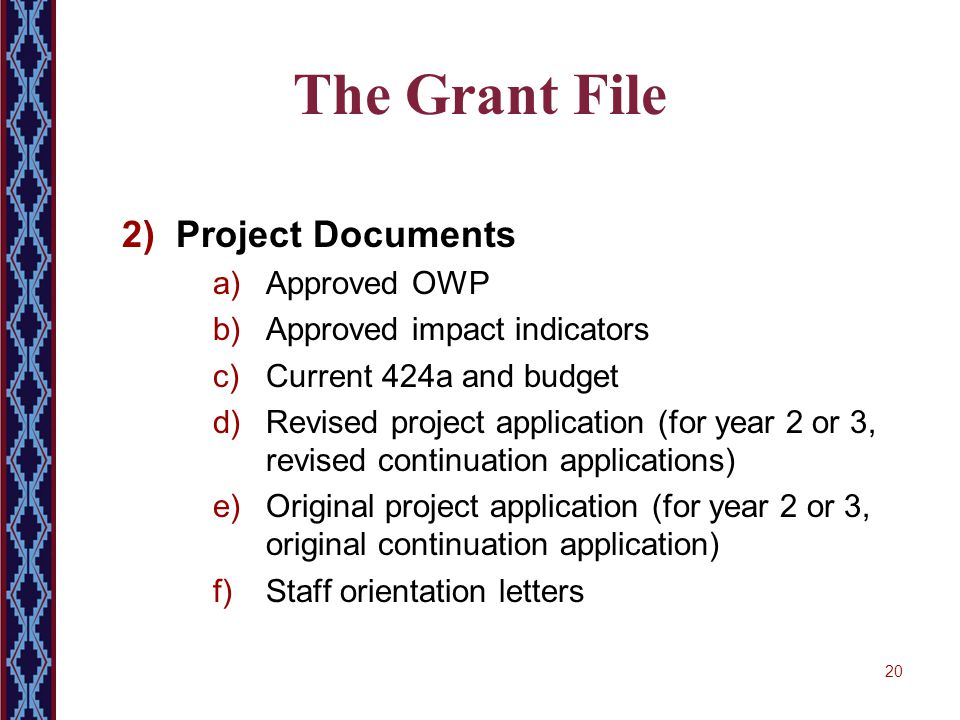20 The Grant File 2) Project Documents a)Approved OWP b)Approved impact indicators c)Current 424a and budget d)Revised project application (for year 2