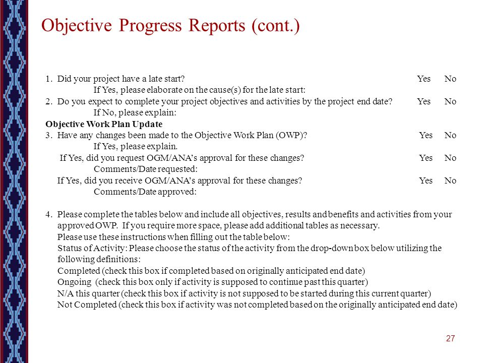 27 Objective Progress Reports (cont.) 1. Did your project have a late start? Yes No If Yes, please elaborate on the cause(s) for the late start: 2.Do