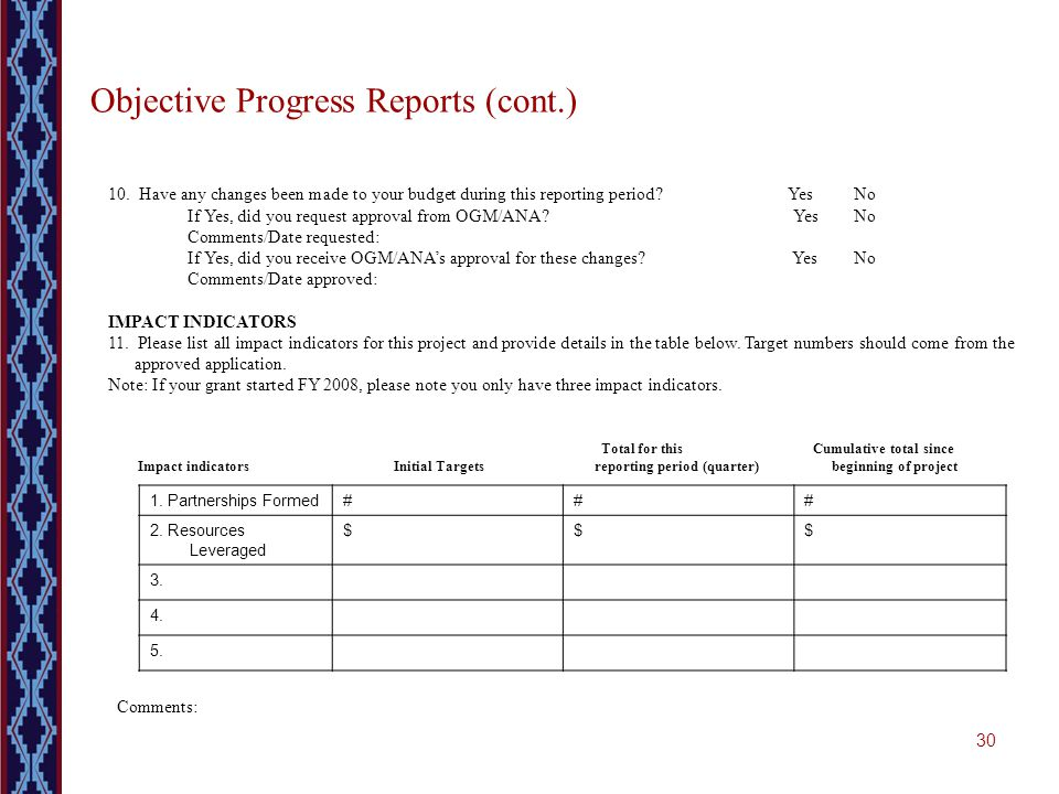 30 Objective Progress Reports (cont.) 10. Have any changes been made to your budget during this reporting period? Yes No If Yes, did you request appro