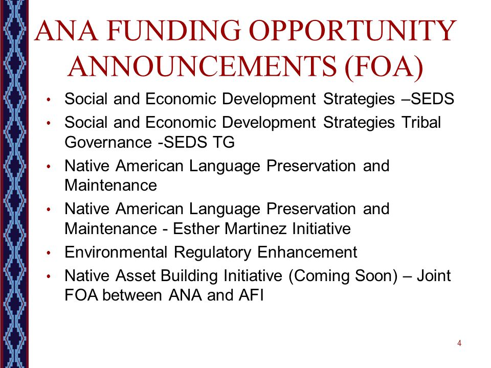 ANA FUNDING OPPORTUNITY ANNOUNCEMENTS (FOA) Social and Economic Development Strategies –SEDS Social and Economic Development Strategies Tribal Governa
