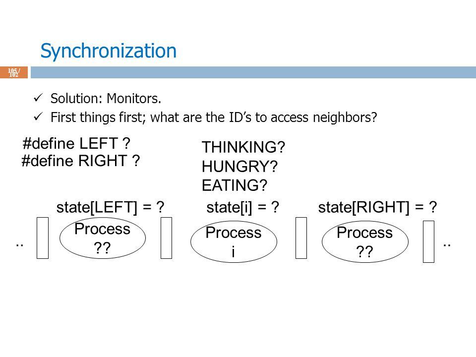 Synchronization 105 / 102 Solution: Monitors.