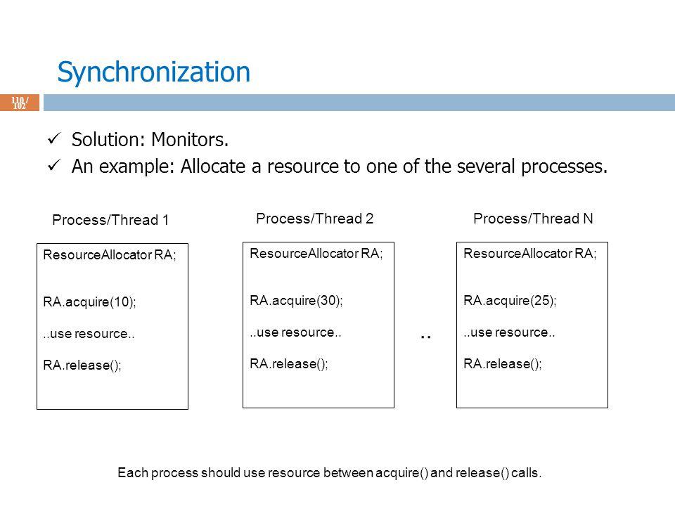 Synchronization 110 / 102 Solution: Monitors.