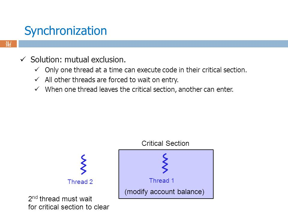 Synchronization 31 / 102 Solution: mutual exclusion.