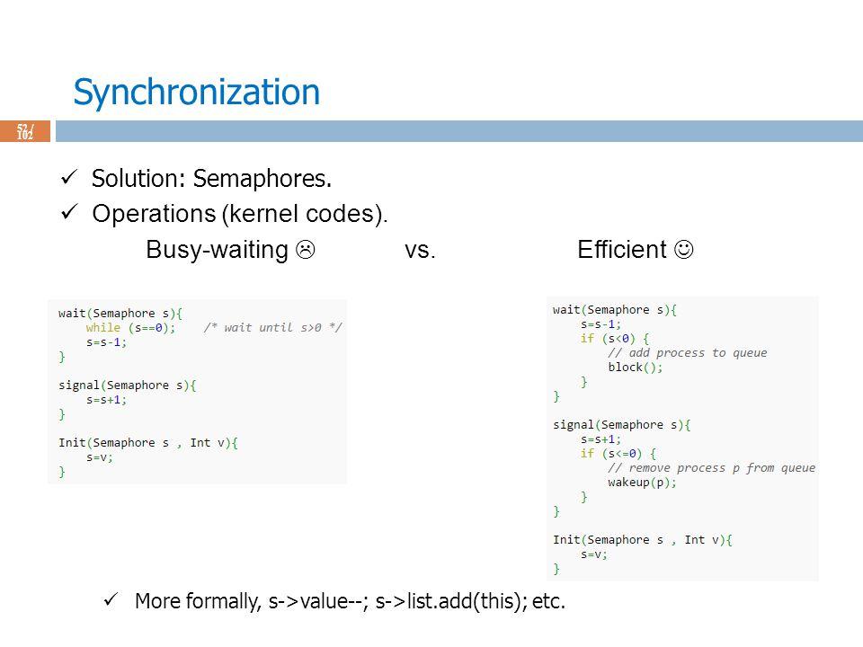 Synchronization 52 / 102 Solution: Semaphores. Operations (kernel codes).