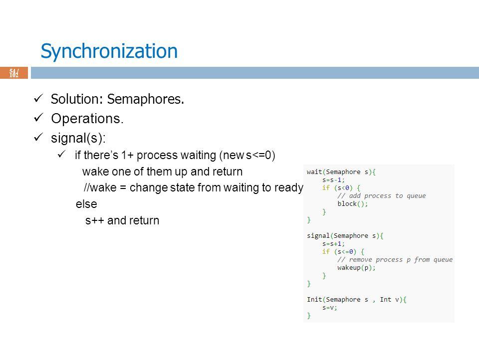 Synchronization 54 / 102 Solution: Semaphores. Operations.