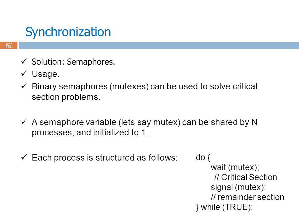 Synchronization 57 / 102 Solution: Semaphores. Usage.
