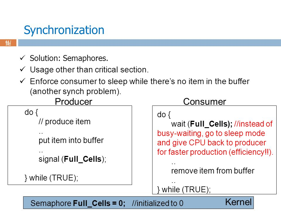 Synchronization 64 / 102 Solution: Semaphores. Usage other than critical section.