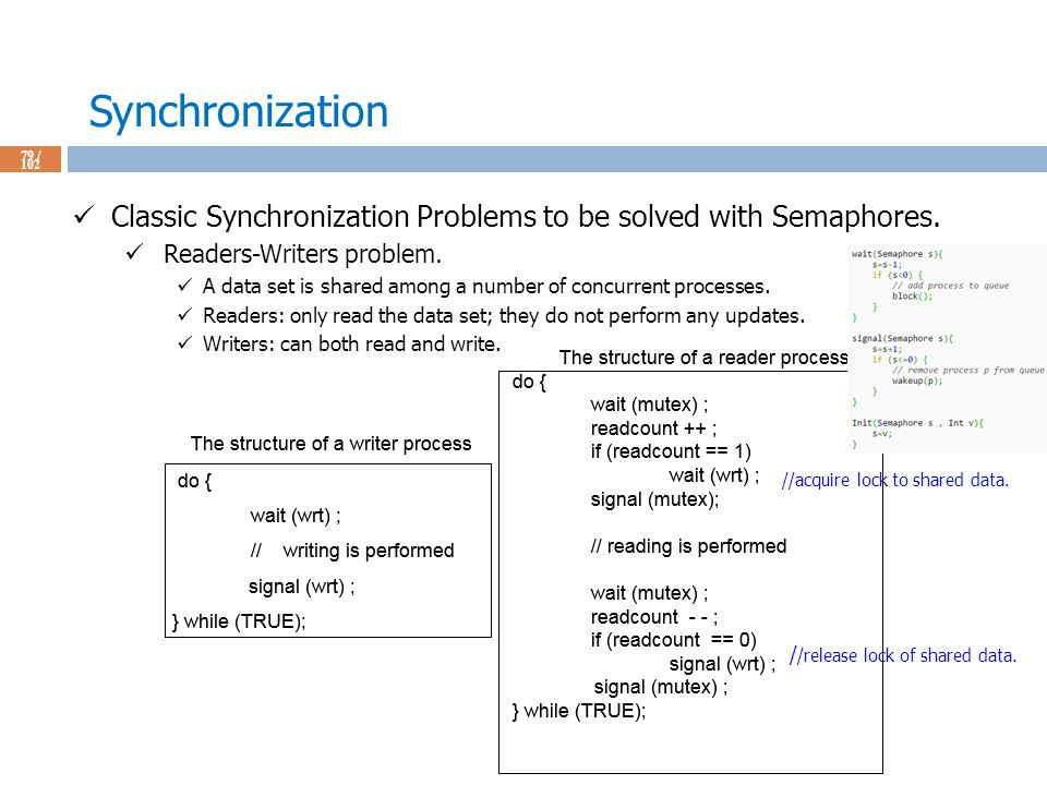 Synchronization 79 / 102 Classic Synchronization Problems to be solved with Semaphores.