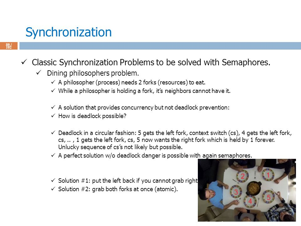 Synchronization 89 / 102 Classic Synchronization Problems to be solved with Semaphores.
