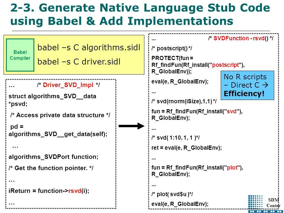 SDM Center Babel Compiler babel –s C algorithms.sidl babel –s C driver.sidl …/* Driver_SVD_Impl */ struct algorithms_SVD__data *psvd; /* Access private data structure */ pd = algorithms_SVD__get_data(self); … algorithms_SVDPort function; /* Get the function pointer.