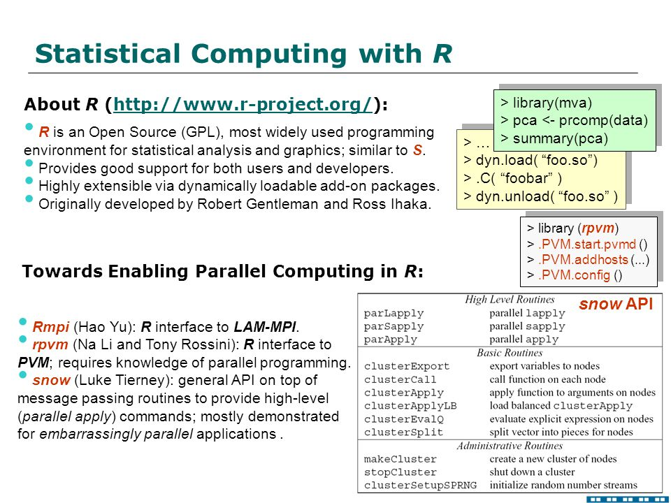 SDM Center Statistical Computing with R About R (http://www.r-project.org/):http://www.r-project.org/ R is an Open Source (GPL), most widely used programming environment for statistical analysis and graphics; similar to S.