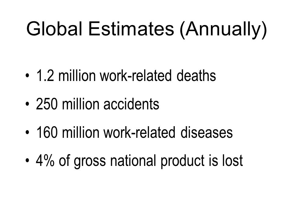 The cost of accidents and occupational diseases in EU-15 countries ranges between 2.6...3.8% of GNP (Gross National Product)* Investments of EU-25 countries in the science 1.86% GNP** Scale of accidents and incidents in occupation * Georgios Katalagarianakis (European Commision, DG Research), General Assembly of ETPIS, February 2007, Stuttgart.