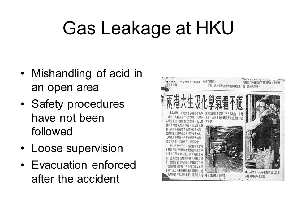 Gas Leakage at HKU Mishandling of acid in an open area Safety procedures have not been followed Loose supervision Evacuation enforced after the accide
