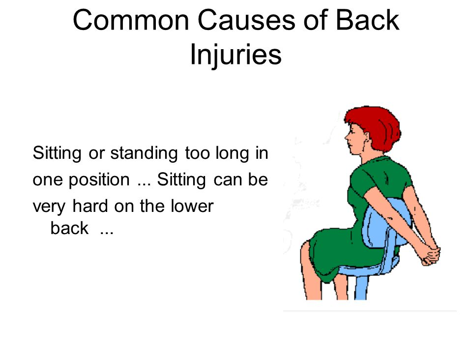 Common Causes of Back Injuries Sitting or standing too long in one position... Sitting can be very hard on the lower back...