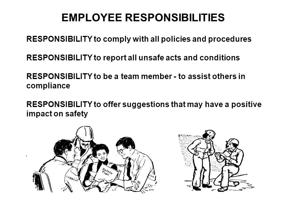 EMPLOYEE RESPONSIBILITIES RESPONSIBILITY to comply with all policies and procedures RESPONSIBILITY to report all unsafe acts and conditions RESPONSIBI
