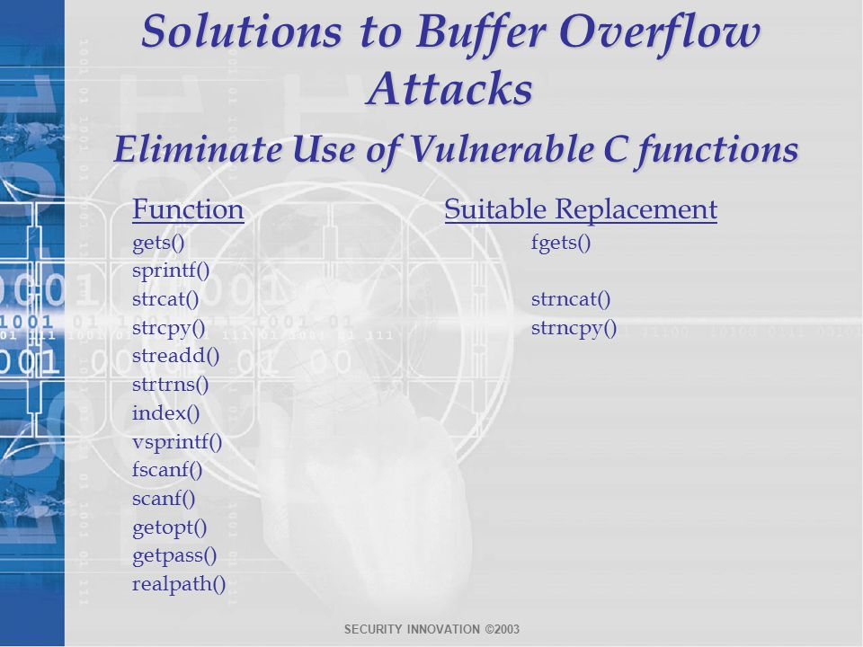 SECURITY INNOVATION ©2003 Solutions to Buffer Overflow Attacks Eliminate Use of Vulnerable C functions FunctionSuitable Replacement gets()fgets() sprintf() strcat()strncat() strcpy()strncpy() streadd() strtrns() index() vsprintf() fscanf() scanf() getopt() getpass() realpath()