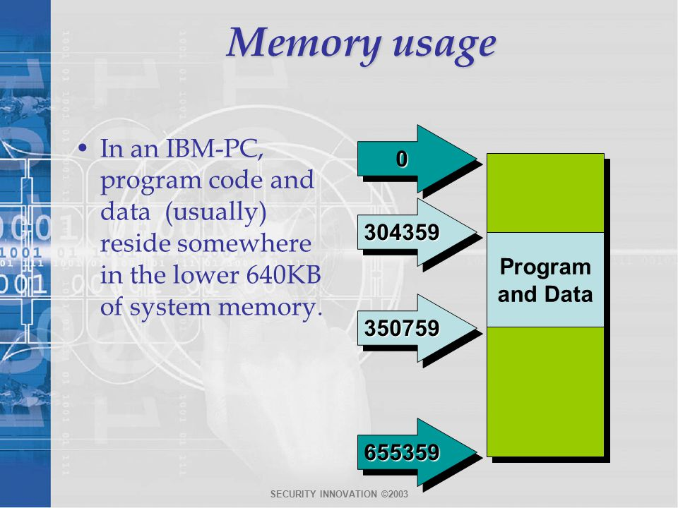 SECURITY INNOVATION ©2003 Memory usage In an IBM-PC, program code and data (usually) reside somewhere in the lower 640KB of system memory.