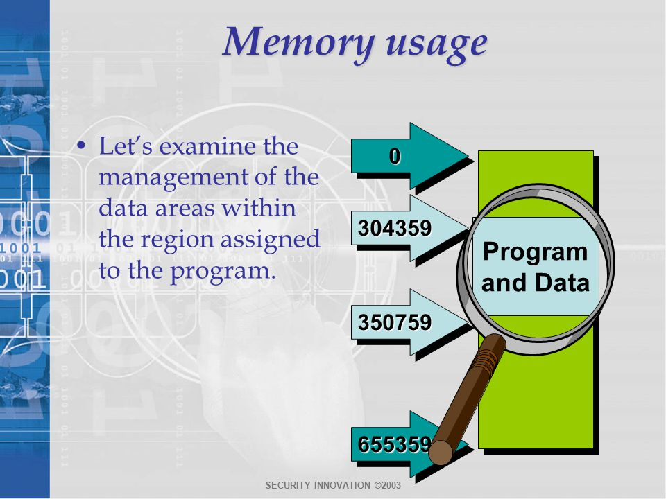 SECURITY INNOVATION ©2003 Memory usage Let's examine the management of the data areas within the region assigned to the program.