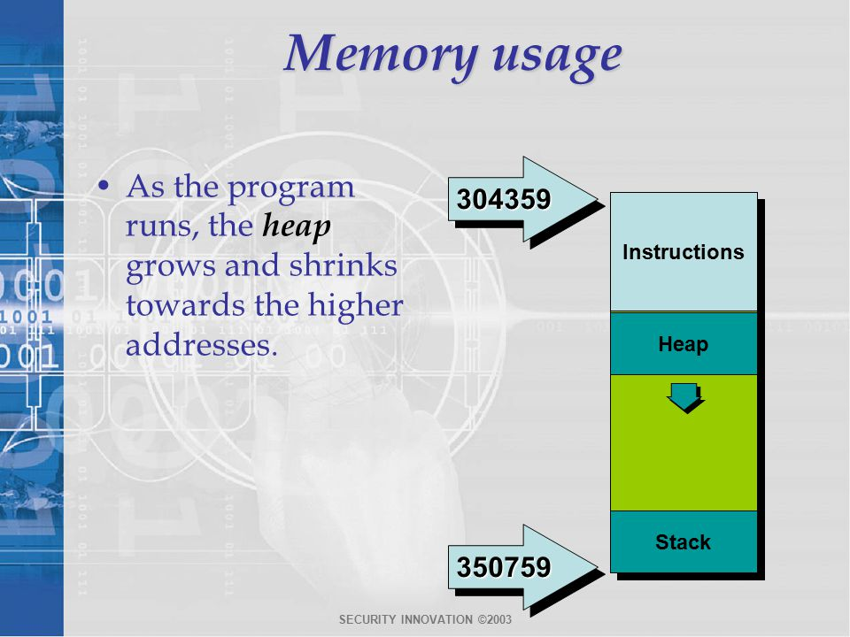 SECURITY INNOVATION ©2003 Memory usage As the program runs, the heap grows and shrinks towards the higher addresses.