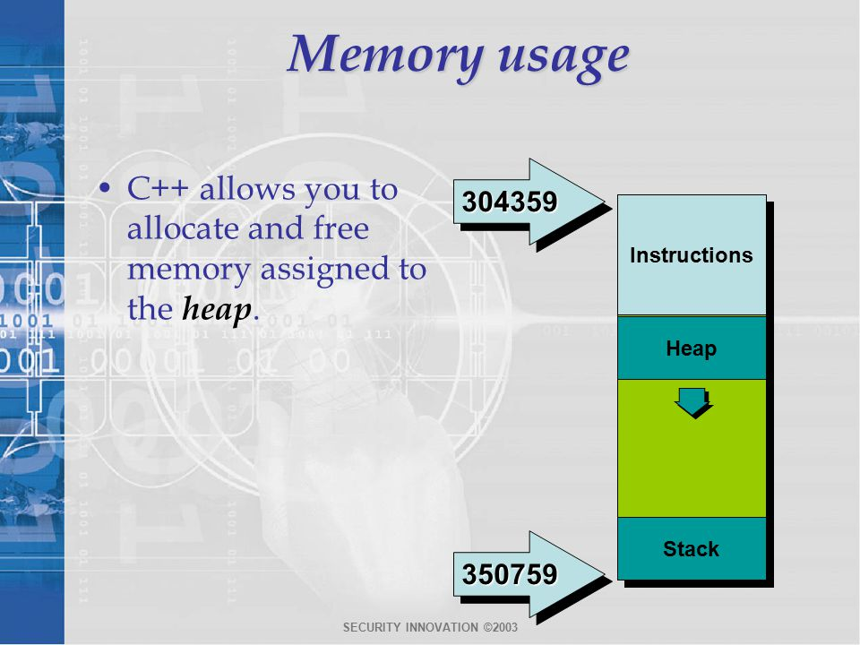 SECURITY INNOVATION ©2003 Memory usage C++ allows you to allocate and free memory assigned to the heap.