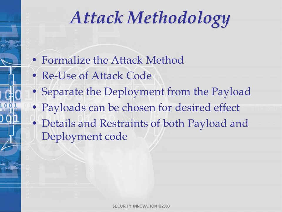 SECURITY INNOVATION ©2003 Attack Methodology Formalize the Attack Method Re-Use of Attack Code Separate the Deployment from the Payload Payloads can be chosen for desired effect Details and Restraints of both Payload and Deployment code