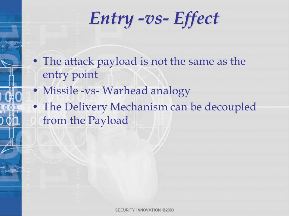 SECURITY INNOVATION ©2003 Entry -vs- Effect The attack payload is not the same as the entry point Missile -vs- Warhead analogy The Delivery Mechanism can be decoupled from the Payload