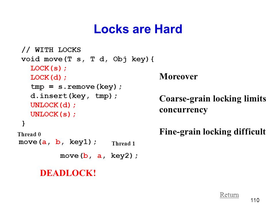110 Locks are Hard // WITH LOCKS void move(T s, T d, Obj key){ LOCK(s); LOCK(d); tmp = s.remove(key); d.insert(key, tmp); UNLOCK(d); UNLOCK(s); } DEAD