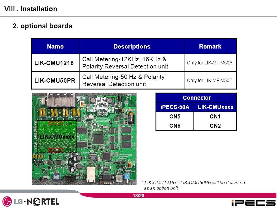 18/20 NameDescriptionsRemark LIK-CMU1216 Call Metering-12KHz, 16KHz & Polarity Reversal Detection unit Only for LIK-MFIM50A LIK-CMU50PR Call Metering-50 Hz & Polarity Reversal Detection unit Only for LIK-MFIM50B VIII.