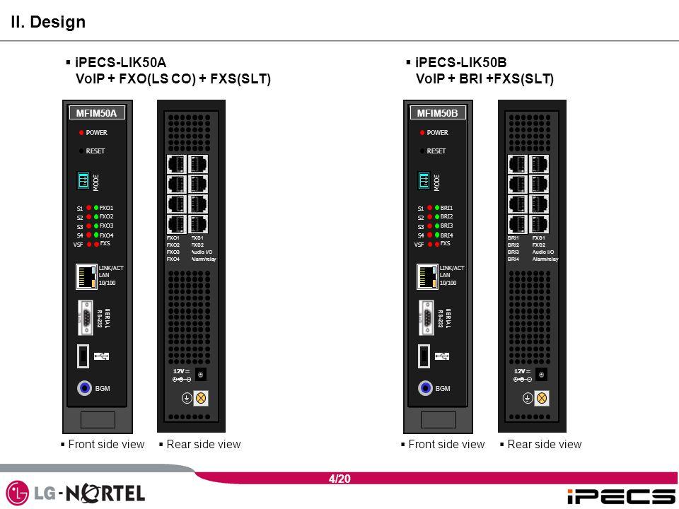 4/20  iPECS-LIK50A VoIP + FXO(LS CO) + FXS(SLT)  iPECS-LIK50B VoIP + BRI +FXS(SLT) II.