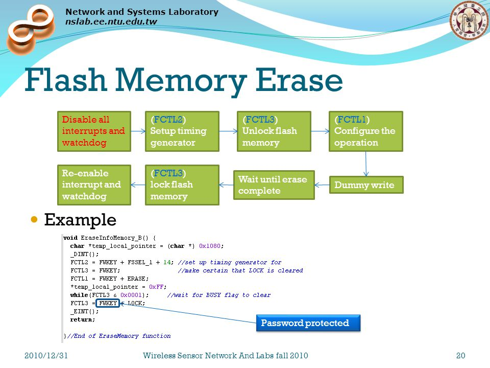 Network and Systems Laboratory nslab.ee.ntu.edu.tw Flash Memory Erase Example (FCTL2) Setup timing generator (FCTL3) Unlock flash memory (FCTL1) Configure the operation Disable all interrupts and watchdog Dummy write (FCTL3) lock flash memory Re-enable interrupt and watchdog Wait until erase complete Password protected 2010/12/31Wireless Sensor Network And Labs fall 201020