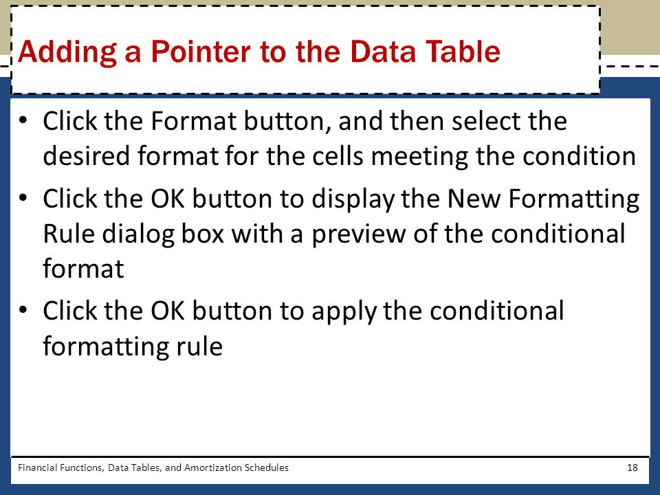 Click the Format button, and then select the desired format for the cells meeting the condition Click the OK button to display the New Formatting Rule