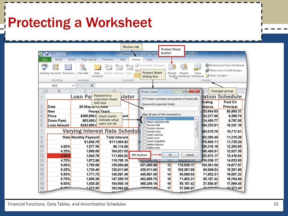 Financial Functions, Data Tables, and Amortization Schedules33 Protecting a Worksheet