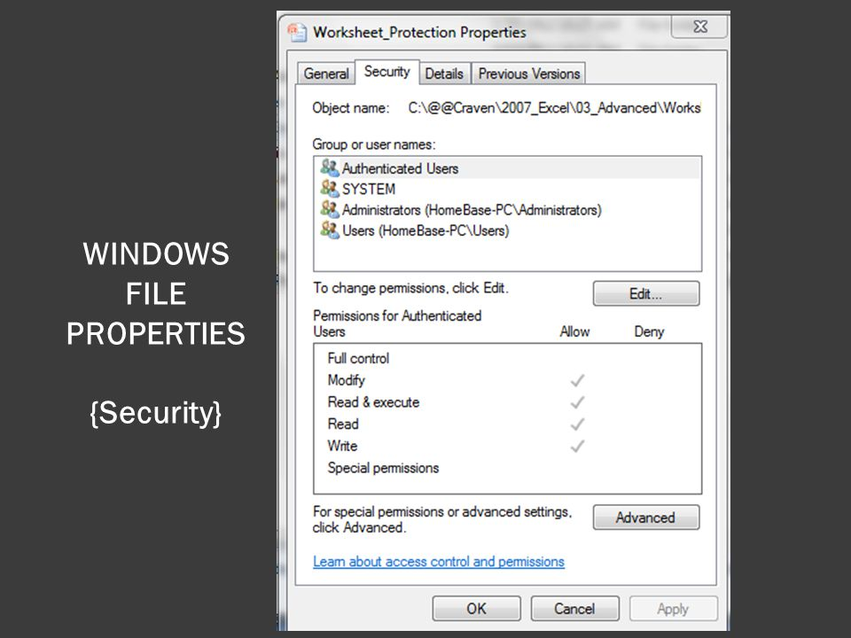 WINDOWS FILE PROPERTIES {Security}