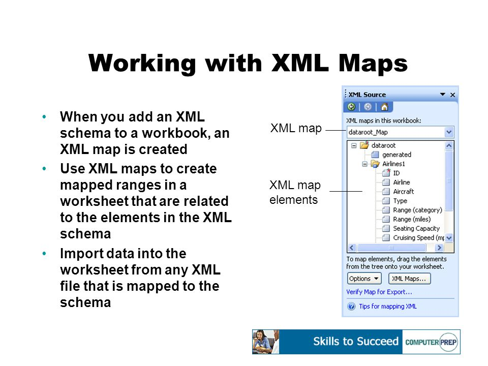 Working with XML Maps When you add an XML schema to a workbook, an XML map is created Use XML maps to create mapped ranges in a worksheet that are related to the elements in the XML schema Import data into the worksheet from any XML file that is mapped to the schema XML map XML map elements