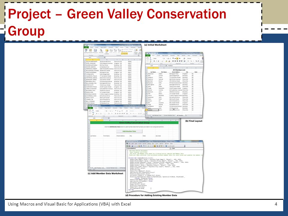 Switch to the Visual Basic Editor Press the CTRL+G keys to open the Immediate window Type activesheet.groupboxes.visible = false and press ENTER to remove the box from around the group control Using Macros and Visual Basic for Applications (VBA) with Excel45 Removing the Outline from the Group Control