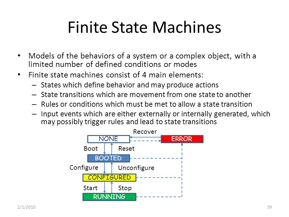 Finite State Machines Models of the behaviors of a system or a complex object, with a limited number of defined conditions or modes Finite state machines consist of 4 main elements: – States which define behavior and may produce actions – State transitions which are movement from one state to another – Rules or conditions which must be met to allow a state transition – Input events which are either externally or internally generated, which may possibly trigger rules and lead to state transitions BOOTED CONFIGURED RUNNING NONEERROR Recover Boot Configure StartStop Unconfigure Reset 2/1/201039
