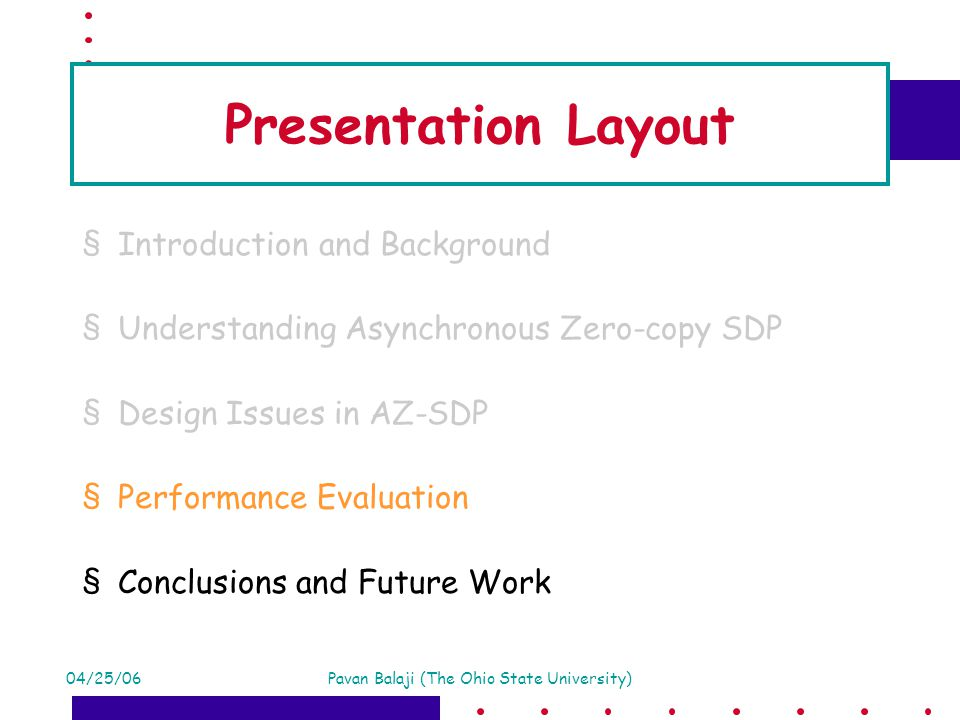 04/25/06Pavan Balaji (The Ohio State University) Presentation Layout §Introduction and Background §Understanding Asynchronous Zero-copy SDP §Design Issues in AZ-SDP §Performance Evaluation §Conclusions and Future Work