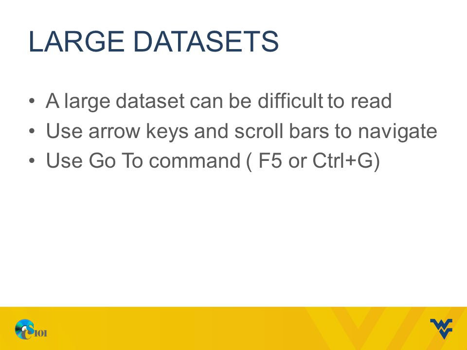 LARGE DATASETS A large dataset can be difficult to read Use arrow keys and scroll bars to navigate Use Go To command ( F5 or Ctrl+G)