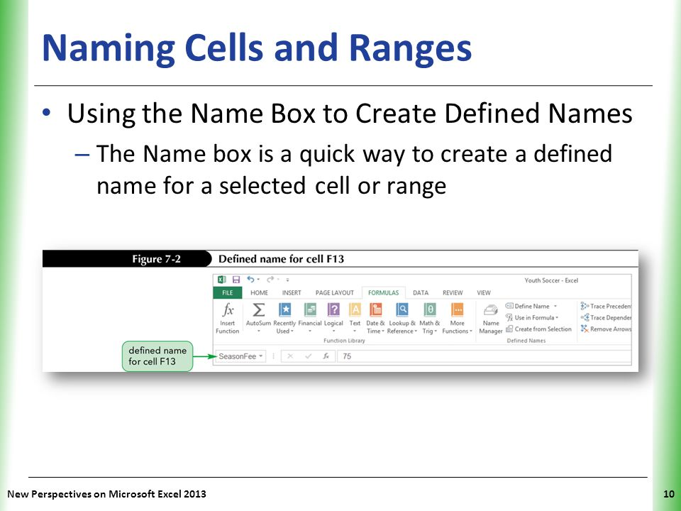 XP Naming Cells and Ranges Using the Name Box to Create Defined Names – The Name box is a quick way to create a defined name for a selected cell or ra