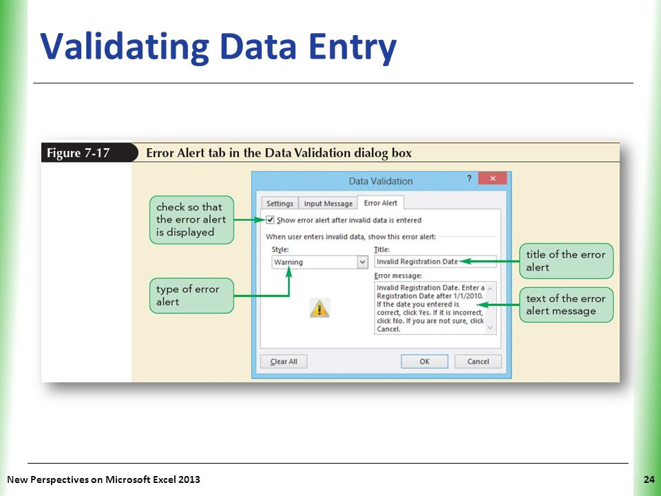 XP Validating Data Entry New Perspectives on Microsoft Excel 201324
