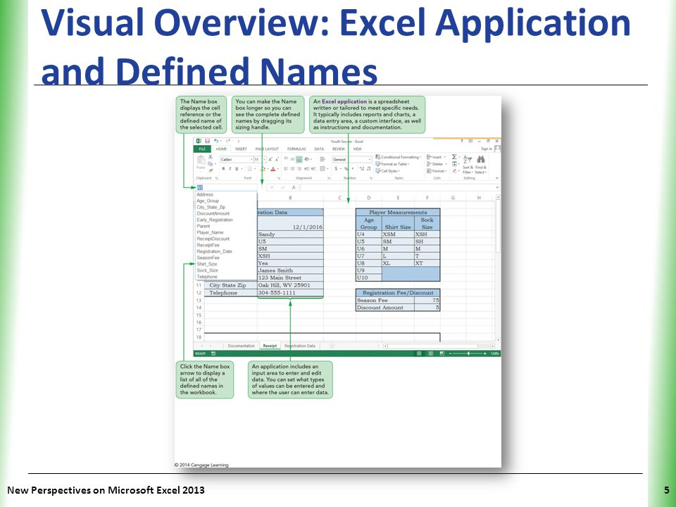 XP Using Defined Names in Formulas You can create more descriptive formulas by using defined names instead of cell or range references in formulas Range references in formulas are not updated with their defined names; if you enter a range reference in a formula, its corresponding defined name does not automatically replace the range reference in the formula New Perspectives on Microsoft Excel 201316