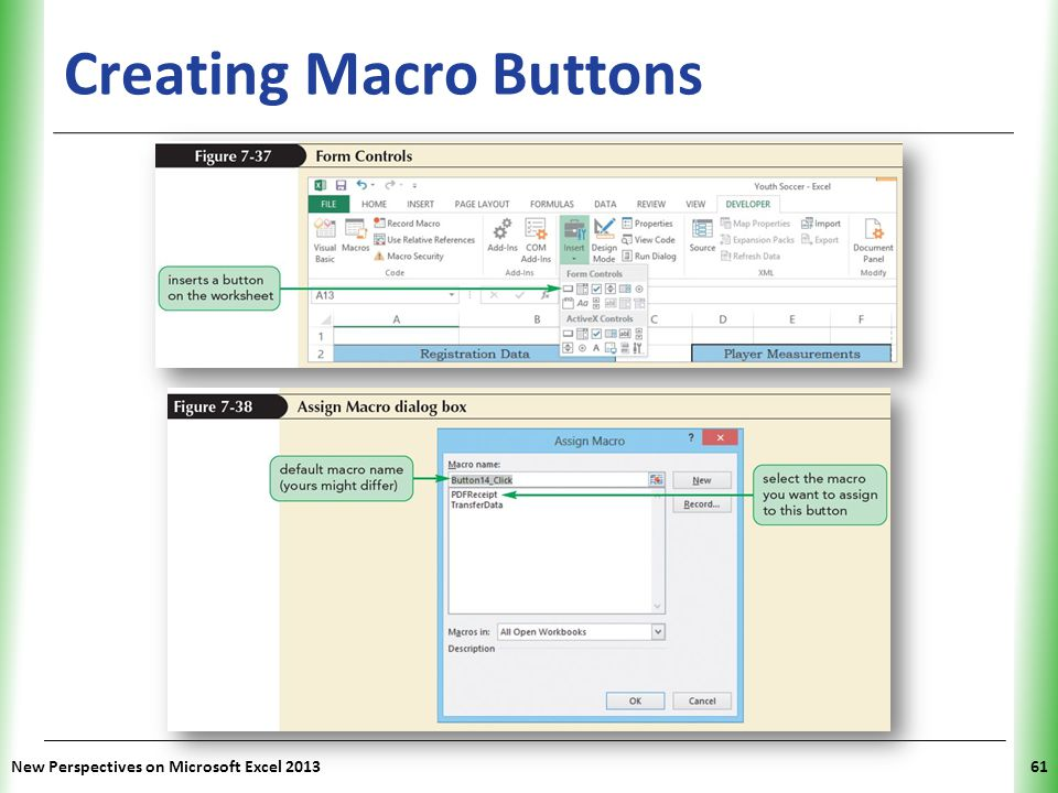 XP Creating Macro Buttons New Perspectives on Microsoft Excel 201361