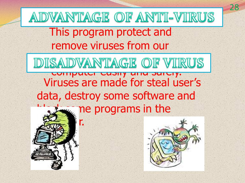 28 Because Anti-virus will prevent, detect and remove viruses from our computer, but not include to computer worm, Spyware, adware and Trojan horses.