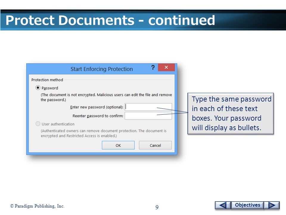 © Paradigm Publishing, Inc.30 Objectives Inspect a Document - continued To inspect a document: 1.